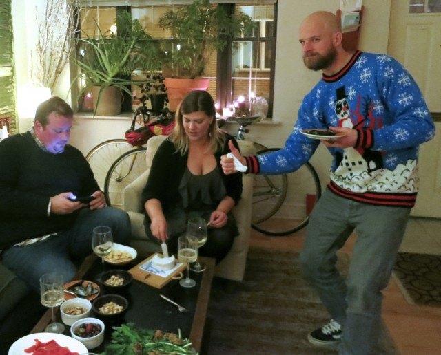 Joe, Flo and Bob Enjoying the Appetizers