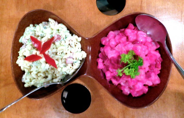 Salads: Apple and Hot Dog Salad next to In the Pink Potato Salad
