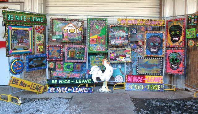 "Dr. Bob's Art - Not Just ""Be Nice or Leave"" Bywater Neighborhood in New Orleans 2foodtrippers"