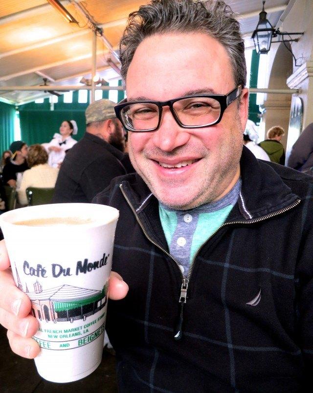 Daryl Enjoying a Cafe au Lait at Cafe du Monde. Drinking in New Orleans