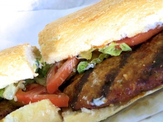 Grilled Hot Sausage Po Boy at Parkway Bakery and Tavern in New Orleans