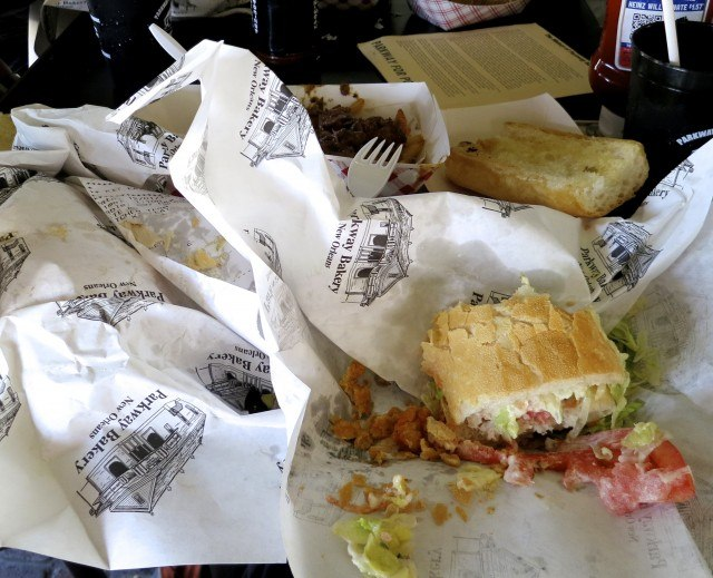Po Boy Debris at Parkway Bakery & Tavern in New Orleans