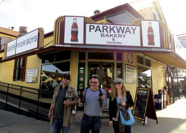 Happy Parkway Bakery and Tavern Eaters Karl, Daryl and Heidi with Go Cups