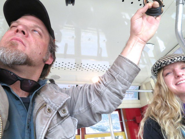 Karl and Heidi on a New Orleans Street Car Traveling with Friends