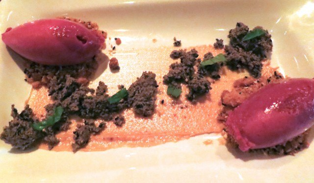 Concord Grape Sorbet with Black Sesame, Miso and Thai Basil. Another New York Quickie