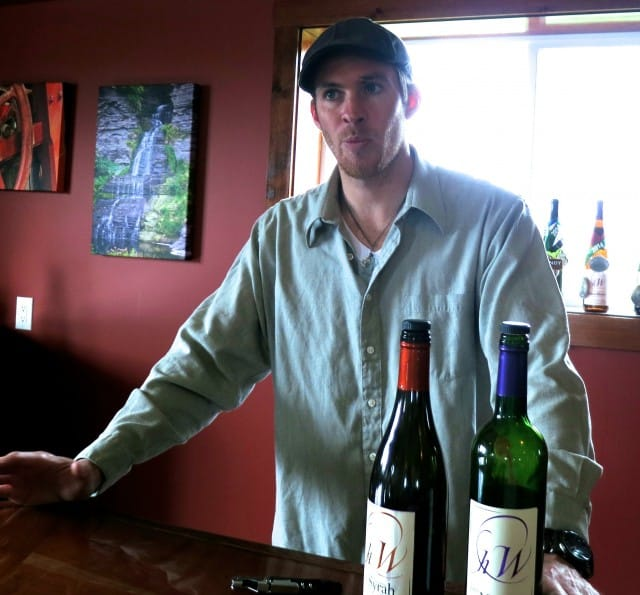 Jason Hazlitt Pouring Wine for our Tasting. 5 Tasting Spots in the Finger Lakes 2foodtrippers