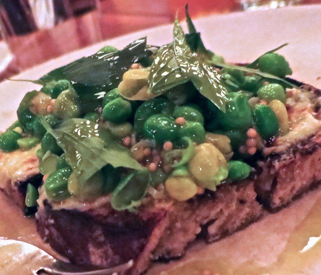 Marinated Peas - Coke Farms, California - Lovage, Green Garlic, Mustard Seed, Horseradish Cheddar and Rye at Publican in Chicago