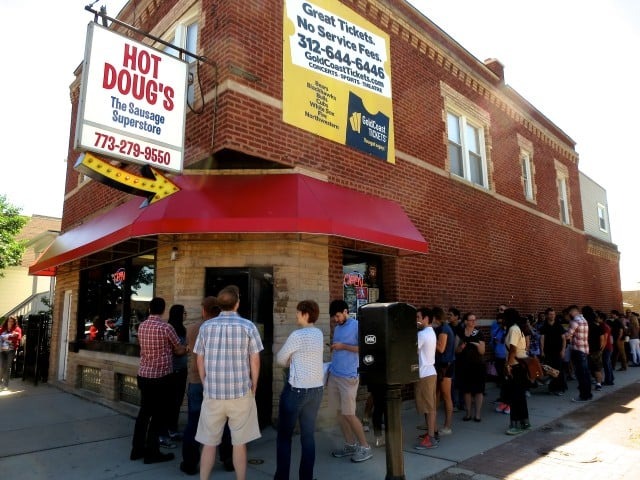 Line for a Late Lunch at Hot Doug's in Chicago. Food fans wait over an hour for a last meal at Doug Sohn's temple of dogdom.