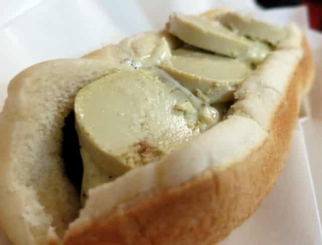 Foie Gras and Sauternes Duck Sausage with Truffle Aioli, Foie Gras Mousse and Fleur de Sel at Hot Doug's