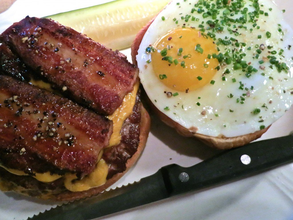 """Single"" Cheeseburger with Bacon and Egg at Au Cheval in Chicago Illinois"
