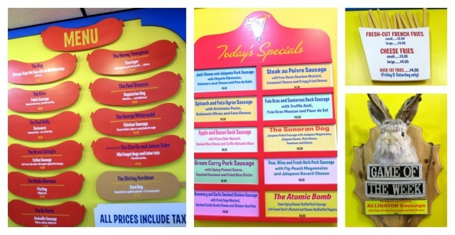 Colorful Menus at Hot Doug's in Chicago