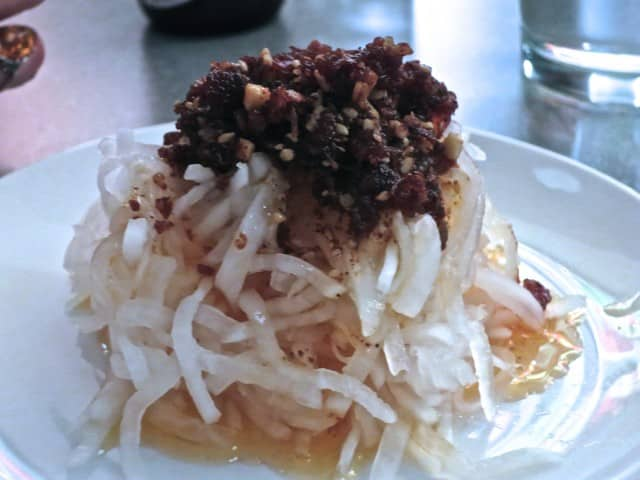 Cold Dish - Pickled Daikon XO with Dried Shrimp and Scallop Chili Oil at Ivan Ramen New York City