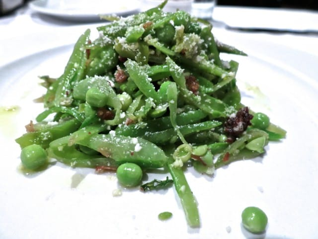 "A Starter to Share: Sugar Snap Pea Salad ""Tagliatini"" with Guanciale, Mint and Pecorino Romano at Union Square Cafe in New York"