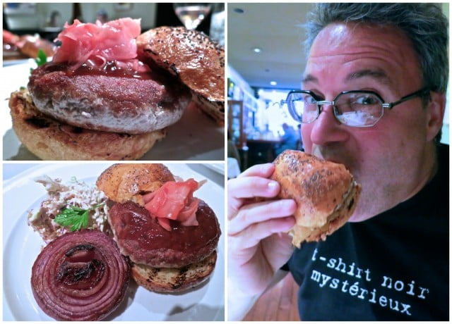 Biting into a Memory - Yellowfin Tuna Burger with Ginger-Mustard Glaze, Grilled Red Onion and Cabbage Slaw at Union Square Cafe in New York