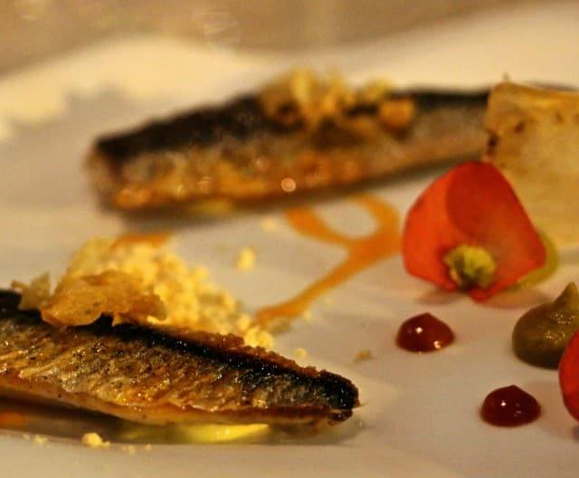 Course 5 - Sardines with Bottarga Mayo Eggplant Purée, Smoked Pepper Purée, Garlic Chile Oil and Chorizo Powder Volvér Philadelphia Volver Restaurant