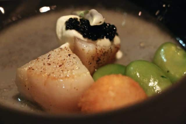 Course 6 - Live Sea Scallops with Ham Broth, Favas in Salsa Verde and Caviar Volvér Philadelphia Volver Restaurant