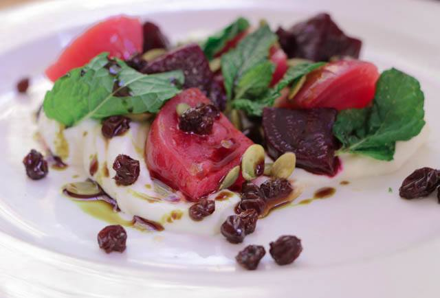 Marinated Beet Salad with House Made Smoked Yogurt, Pickled Zante Currants, Pumpkin Seeds and Mint