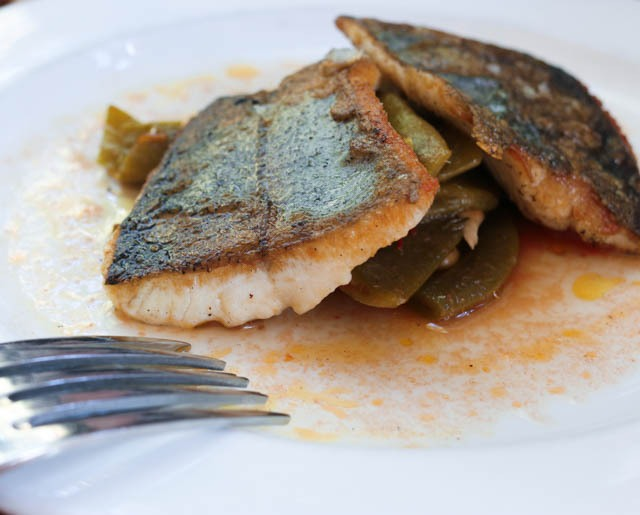 Roasted Rainbow Trout with Braised Romano Beans and Green Coriander