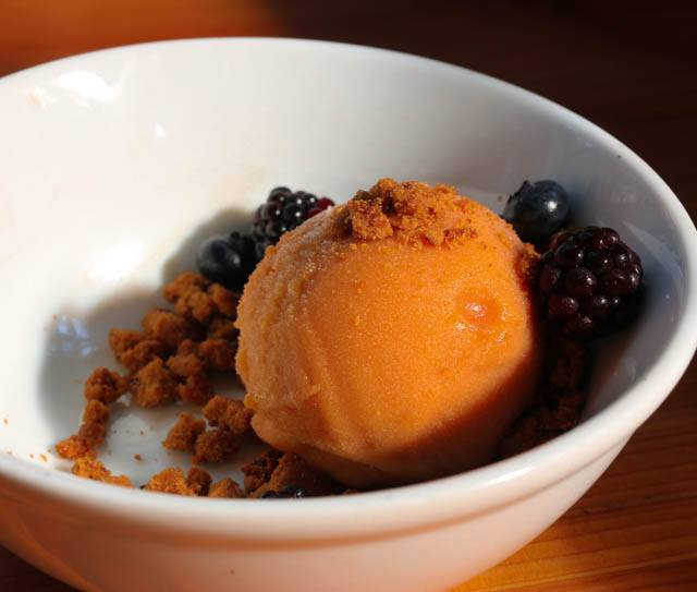 Peach Muscat Sorbet with Ginger Crumbles and Berries Bar Sajor Lunch Seattle
