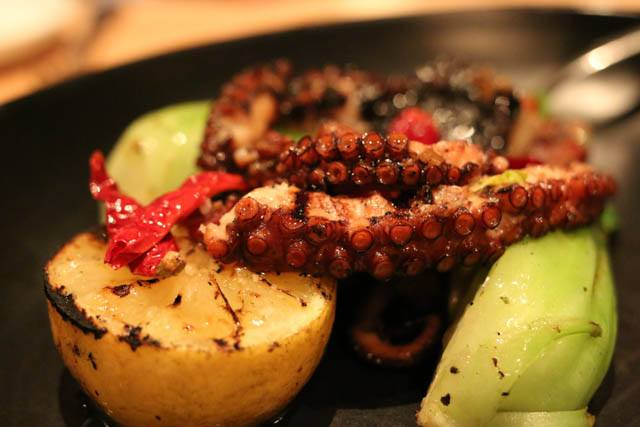 Joule Other than Steak - Octopus, Bok Choy and Hot Bacon Vinaigrette