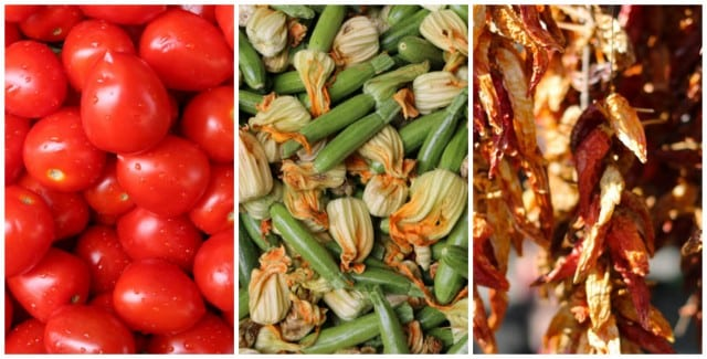 Food in Naples - Tomatoes, Squash Blossoms and Dried Peppers