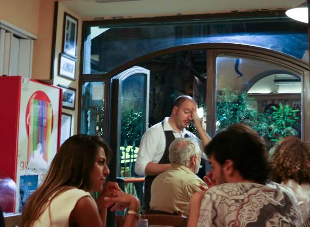 Inside Trattoria da Carmine in Naples Italy
