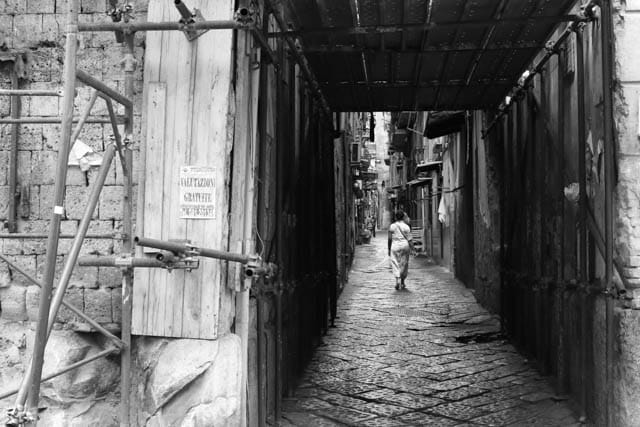 Naples Street in Black and White