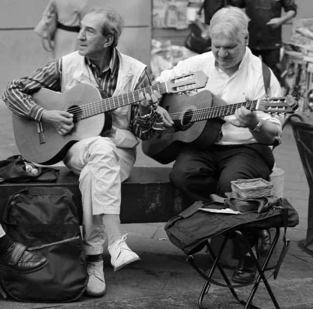 Naples Musiciaians in Black and White Naples Italy Black and White