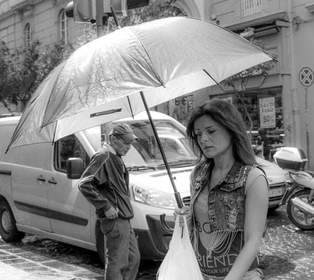 Naples Woman Umbrella in Black and White Naples Italy Black and White