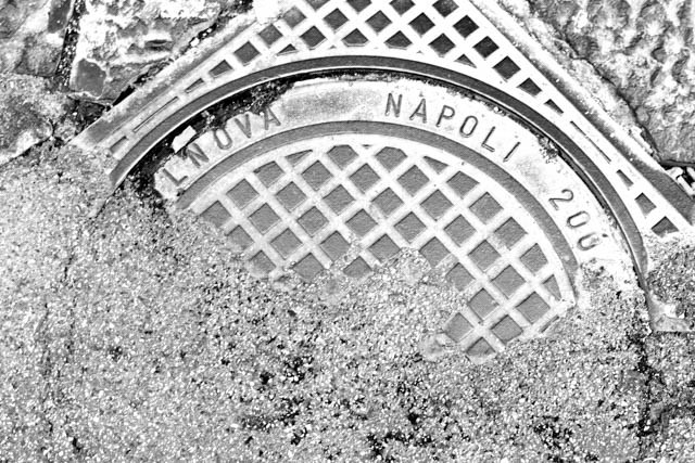 Naples Manhole Cover in Black and White Naples Italy Black & White