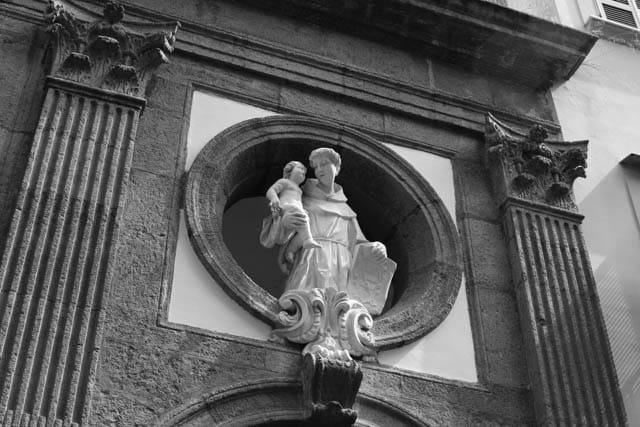 Church Facade Naples Italy Black & White