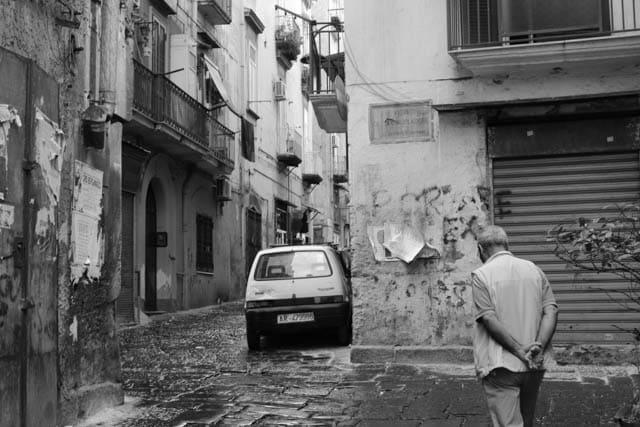 Street Scene Naples Italy Black & White