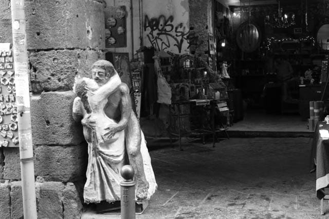 Statue Naples Italy Black & White