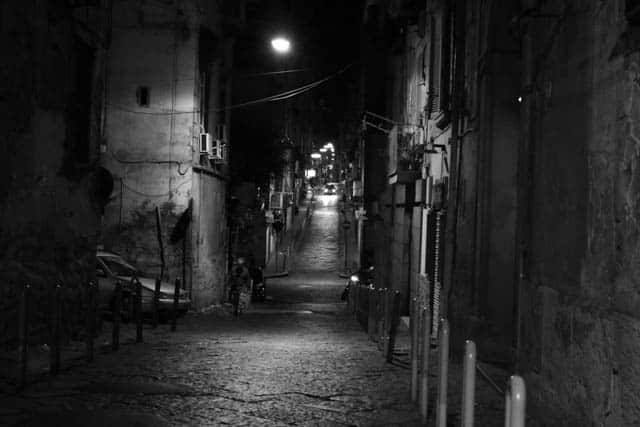 Naples Street in Black and White Naples Italy Black and White