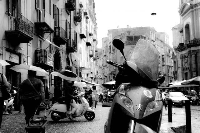 Naples Motorcycle in Black and White Naples Italy Black and White