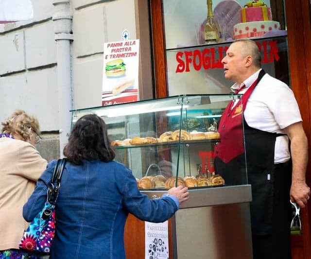 Outside Caffè Spaccanapoli - Coffee and Sfogliatella - Naples Breakfast of Champions