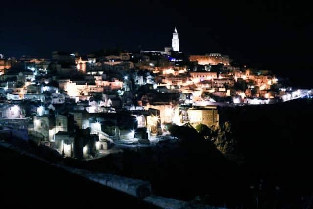 Matera at Night in Basilicata Italy