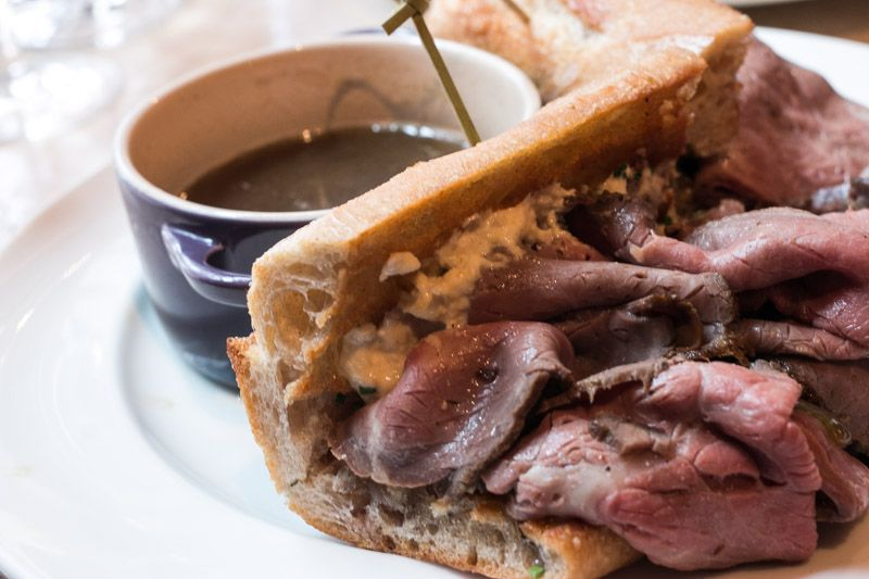 French Dip Sandwich with Dry-Aged Beef, Shallots and Jus Dirty French NYC