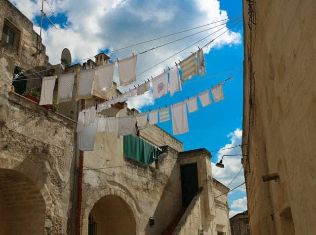 Laundry between the Caves in Matera Italy