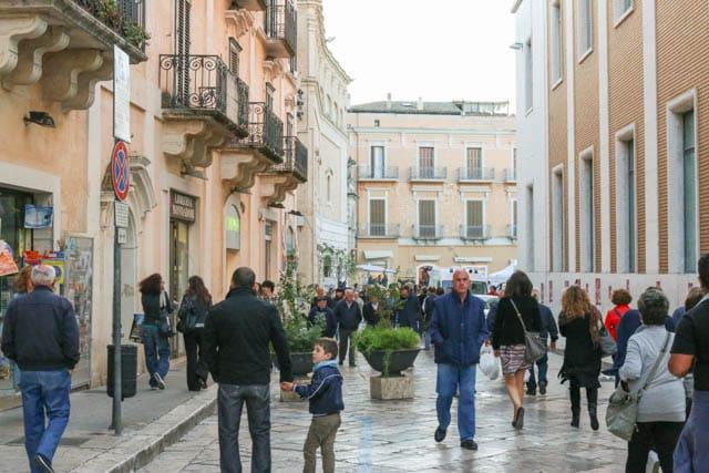 The evening passeggiata enlivensMatera's provincial center. Visit Matera Italy