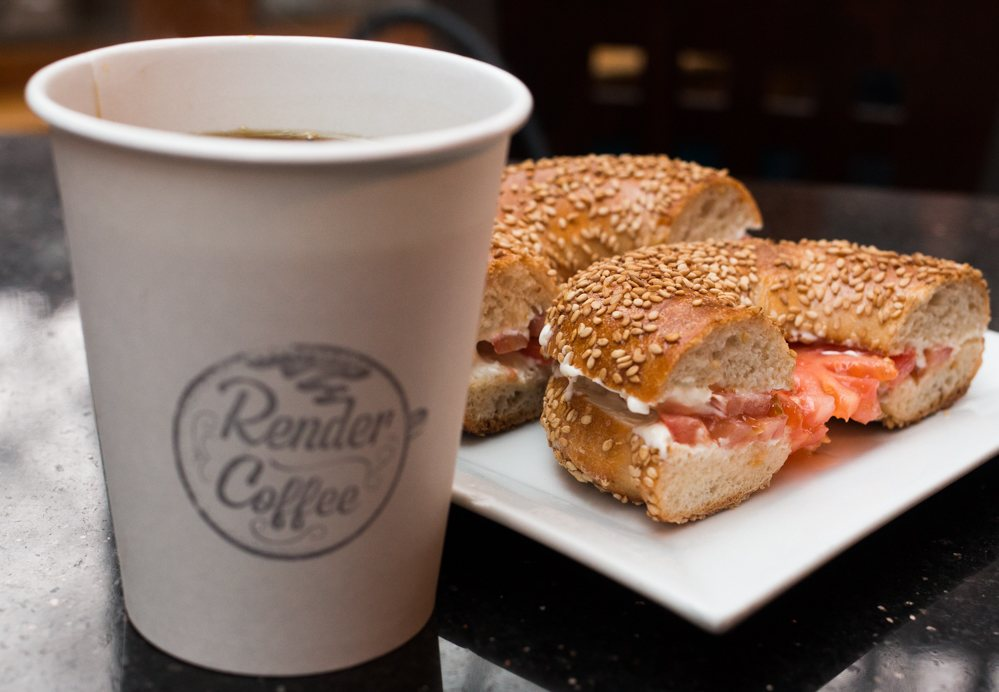 Located in Boston's South End, Render Coffee serves Counter Culture coffee and tasty sandwiches like this one made with a bagel from Iggy's Bread of the World. Eating in Boston.