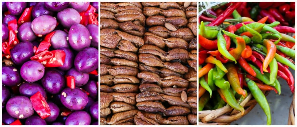 The local produce of a Puglia market can be described as colorful, fresh and delicious. Here we have spicy olives, figs and peppers. Puglia in a Day Trip to Puglia