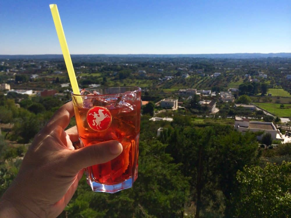 Drinking a Negroni while admiring the Puglian landscape is a happy hour that we will long remember. Day to to Puglia