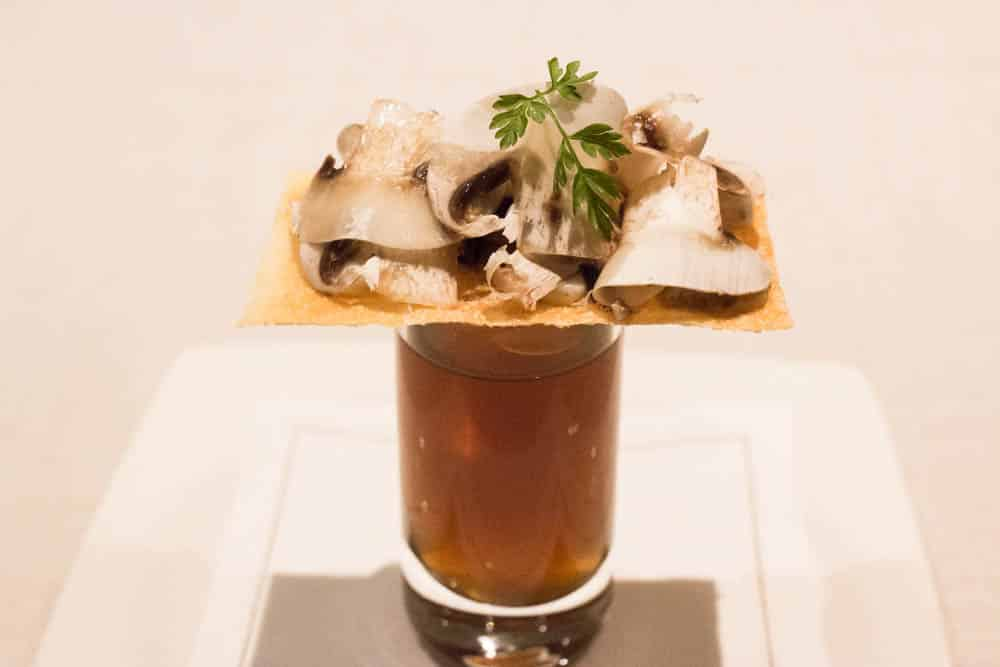 Mushrooms and Foie Focaccia at Restaurant Angle in Barcelona Spain