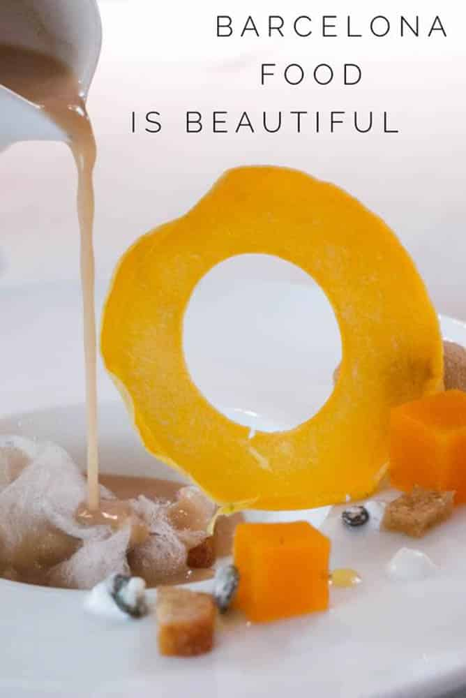 Pinterest image: image of dessert with caption 'Barcelona Food Is Beautiful'