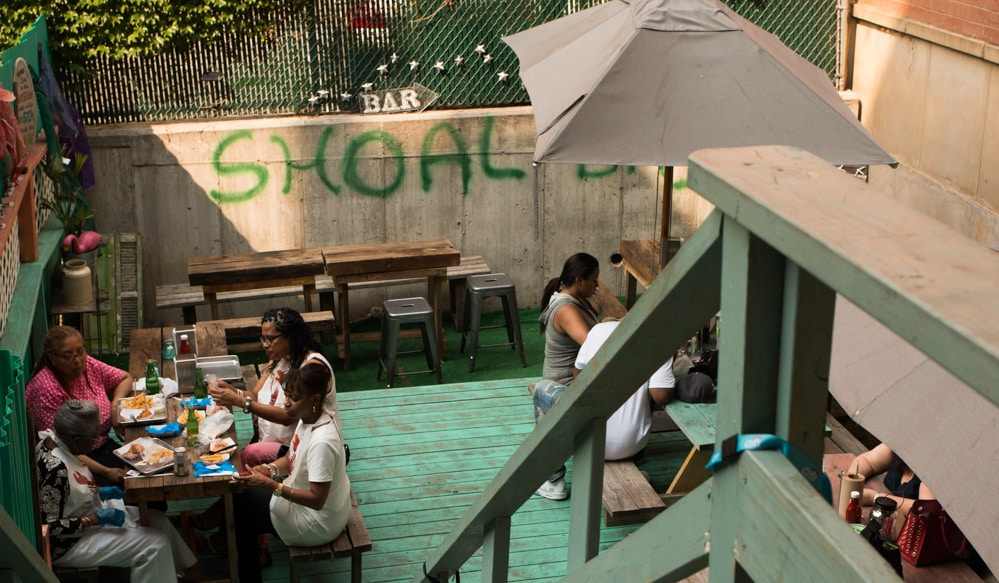 Patio at Lolo's Seafood Shack in Harlem New York City