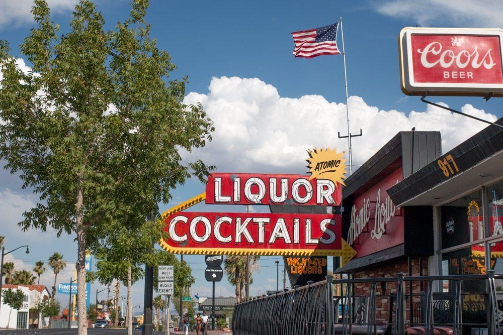 Atomic Liquors is an iconic bar in downtown Las Vegas. Exploring Downtown Las Vegas