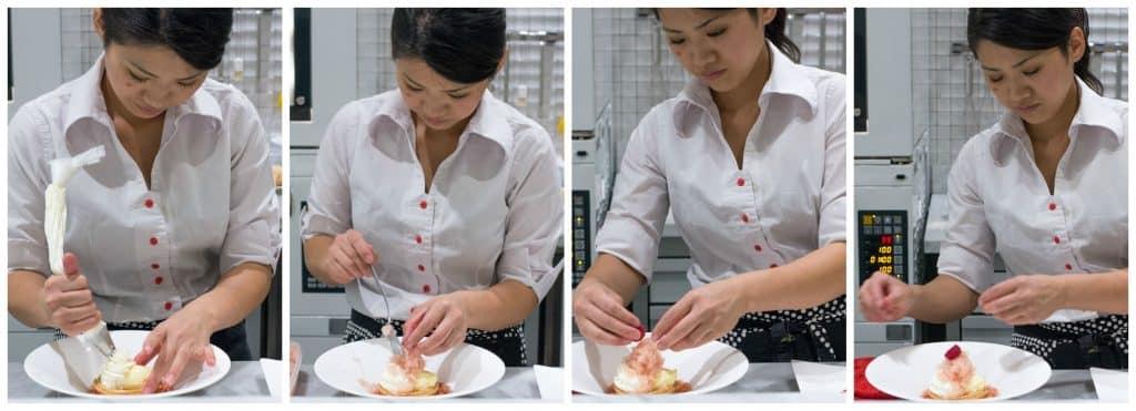 Chef Mio Ogasawara assembles the SunsetDessert. Raku in Las Vegas