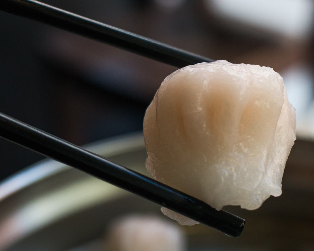 Shrimp Dumpling in Chopsticks