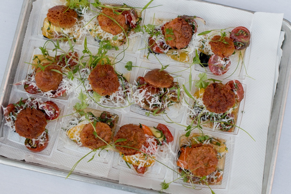 2015 Audi Feastival 10 Arts - Heirloom Tomatoes with Farinata, Nicoise Olives and Pecorino Cheese.